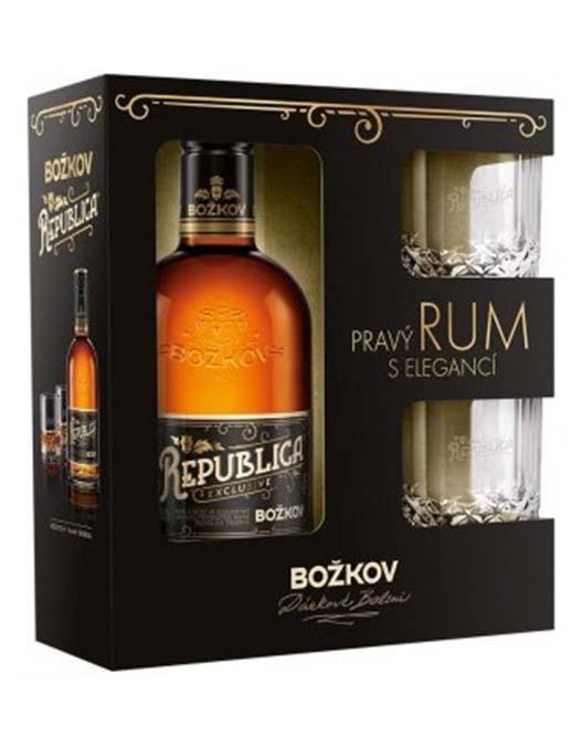 Rum Božkov Republica Exclusive 8y 0,5l 38% + 2x sklo GB