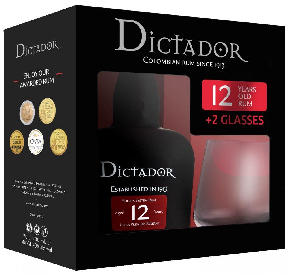 Rum Dictador 12y 0,7l 40% + 2x sklo GB