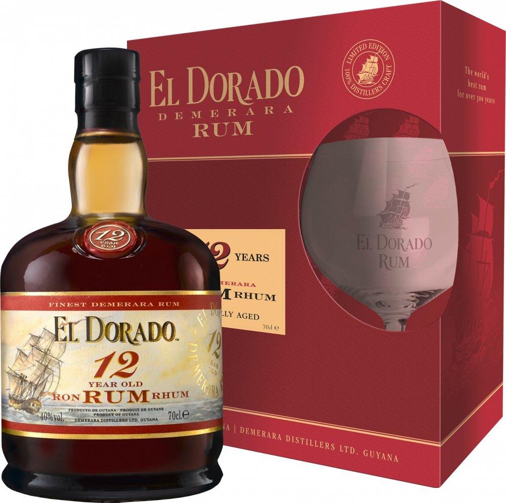 Rum El dorado 12y 0,7l 40% + 1x sklo GB